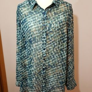 Cold water Creek green blouse XL size 16